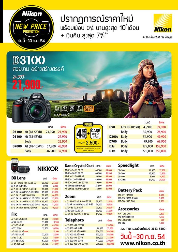 Nikon Hot Promotion!! DSLR, Lens, Flash ผ่อน 0% สูงสุด 10* เดือน + เงินคืน สูงสุด 7%**